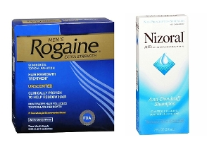 One Men's Rogaine 5% Liquid 3-Months and one Nizoral A-D Shampoo